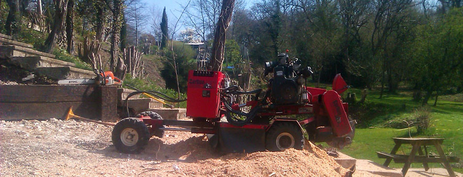 Large stump grinder in awkward location on manor estate
